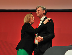 Pictured: Scottish Labour deputy leader and shadow Scottish Secretary Lesley Laird congratulated by Scottish Labour leader Richard Leonard after she speaks to conference.<br /> <br /> The Scottish Labour Party spring conference opened in Dundee on Friday, where Scottish Labour leader Richard Leonard joined delegates and party activists.<br /> <br /> <br /> © Dave Johnston / EEm