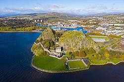 Ariel view of Dumbarton Castle and Dumbarton Rock in West Dunbartonshire, Scotland, UK
