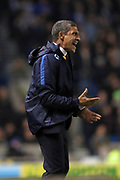 Brighton Manager, Chris Hughton during the EFL Sky Bet Championship match between Brighton and Hove Albion and Derby County at the American Express Community Stadium, Brighton and Hove, England on 10 March 2017.