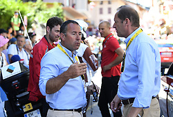 July 19, 2018 - Alpe D Huez, France - ALPE D'HUEZ, FRANCE - JULY 19 : GOUVENOU Thierry & PRUDHOMME Christian (FRA) Director of ASO during stage 12 of the 105th edition of the 2018 Tour de France cycling race, a stage of 175.5 kms between Bourg-Saint-Maurice Les Arcs and Alpe D'huez on July 19, 2018 in Alpe D'huez, France, 19/07/2018 (Credit Image: © Panoramic via ZUMA Press)