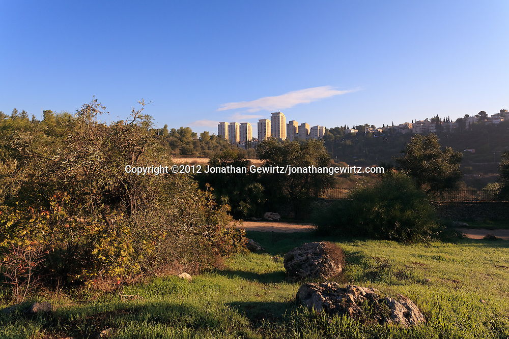 The Valley of the Cross near downtown Jerusalem is the site of the Greek Orthodox Monastery of the Cross as well as of ornamental gardens and olive groves. WATERMARKS WILL NOT APPEAR ON PRINTS OR LICENSED IMAGES.