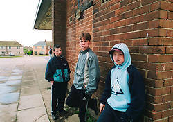 Teenage boys hanging out on a Bradford council estate,
