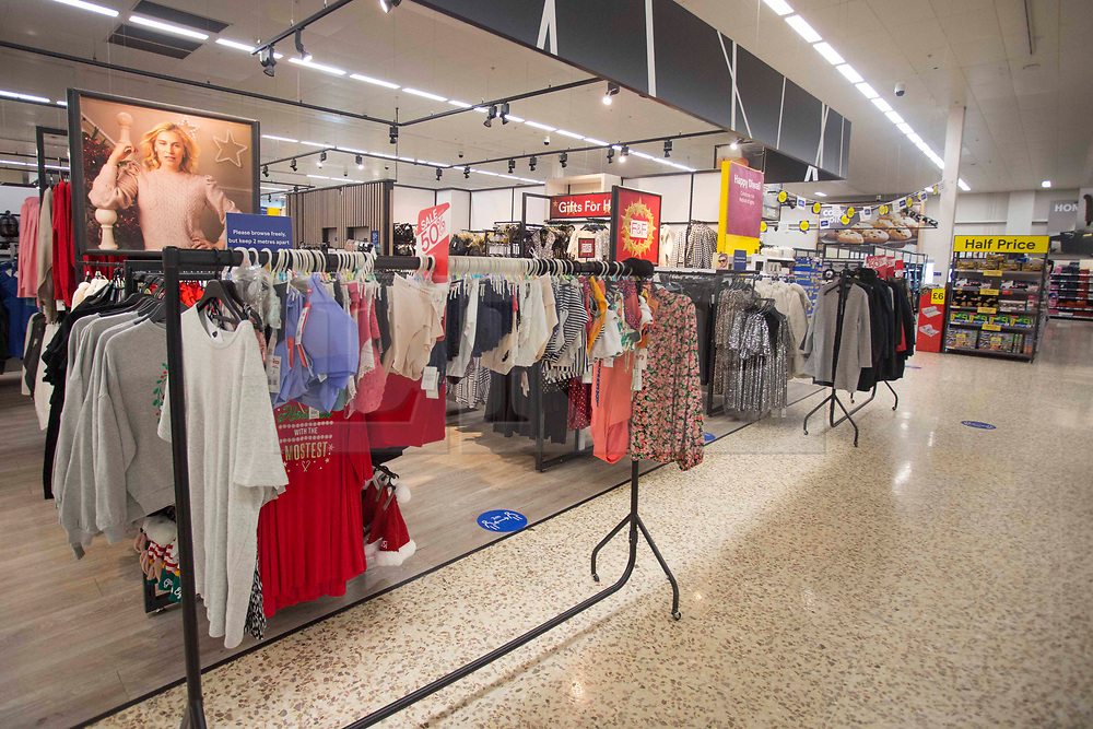 """© Licensed to London News Pictures. 10/11/2020. London, UK. The clothing section of Tesco Extra in Edmonton, north London is not blocked, while in other stores it is a """"non-essential"""" item. Photo credit: Marcin Nowak/LNP"""