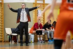 Juraj Suja, head coach of MBK Ruzomberok in action during basketball match between ZKK Cinkarna Celje (SLO) and MBK Ruzomberok (SVK) in Round #6 of Women EuroCup 2018/19, on December 13, 2018 in Gimnazija Celje Center, Celje, Slovenia. Photo by Urban Urbanc / Sportida