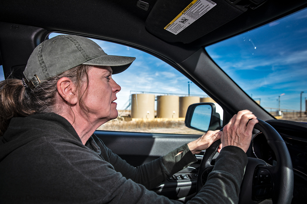 Sharon Wilson, a certified optical gas imaging operator, at work for Earthworks in the Permian Basin.