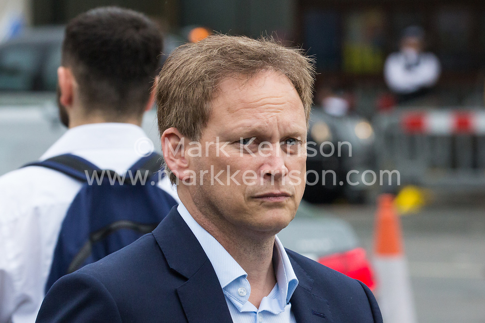 London, UK. 18 June, 2019. Grant Shapps, Conservative MP for Welwyn Hatfield, leaves Parliament following the second round of voting for the leadership of the Conservative Party.