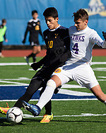 Rhinebaeck plays Voorheesville in a New York State Public High School Athletic Association Class C boys' soccer semifinal game at in Middletown, N.Y., on Nov.16, 2019.