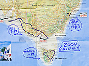 Map of NSW, Victoria, and South Australia labeled with 2004 trips to Sydney, Melbourne, Kangaroo Island, Tasmania.