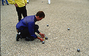 Osterley, Greater london. Competitors measuring the boules, during a game, at the Le Piat d'or,  Petanque/Boules Championships held in the grounds of Osterley House West London, England, [Mandatory Credit; Peter Spurrier/Intersport Images] 19870912 Petanque Championships, Osterley, Greater London, UK