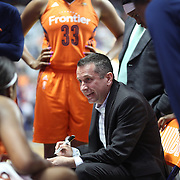 UNCASVILLE, CONNECTICUT- JULY 15:  Head Coach Curt Miller of the Connecticut Sun talking to his players during a time out during the Los Angeles Sparks Vs Connecticut Sun, WNBA regular season game at Mohegan Sun Arena on July 15, 2016 in Uncasville, Connecticut. (Photo by Tim Clayton/Corbis via Getty Images)
