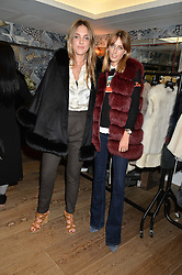 Left to right, DAISY KNATCHBULL and LADY ALICE MANNERS at the Mila Furs Trunk Show held at the Haymarket Hotel, 1 Suffolk Place, London on 1st November 2016.