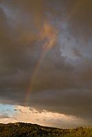 VLIELAND - Regenboog boven de vakantiehuisjes in de duinen van Vlieland, ANP COPYRIGHT KOEN SUYK