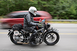 Norm Nelson riding his 1928 BMW R-52 in the Motorcycle Cannonball coast to coast vintage run. Stage-1 (145-miles) from Portland, Maine to Keene, NH. Saturday September 8, 2018. Photography ©2018 Michael Lichter.