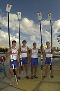Seville, Andalusia, SPAIN<br /> <br /> 2002 World Rowing Championships - Seville <br /> - Spain <br /> <br /> Friday  20/09/2002.<br /> <br /> GBR M4-Bow. Steve William, Josh West, Toby Garbutt and Rich Dunn<br /> <br /> <br /> Rio Guadalquiver Rowing course<br /> <br /> <br /> [Mandatory Credit:Peter SPURRIER/Intersport Images]