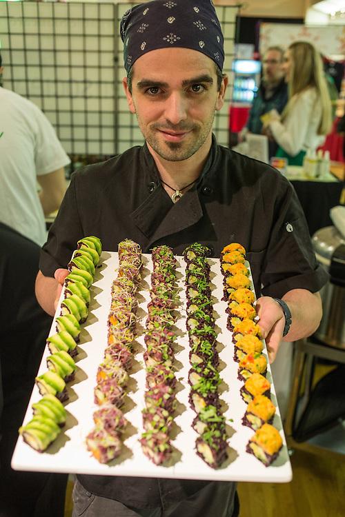A display of Beyond Sushi's vegan sushi.