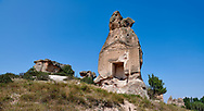 Phrygian temple of Aslankaya, 7th century BC. Phyrigian Valley, Emre Lake, near Döğer, Turkey.<br /> <br /> On the triangular roof over the facade are two sphinxes (winged figures with the head of a human and the body of a lion), facing one another, take place. In the main facade, below, the sphinxes in a niche, a cult statue of Kybele or the Great Mother (vandalised and destroyed) was flanked by two lions. This main facade is ornamented with relief geometrical patterns. .<br /> <br /> If you prefer to buy from our ALAMY PHOTO LIBRARY  Collection visit : https://www.alamy.com/portfolio/paul-williams-funkystock/aslankaya-temple-turkey.html<br /> <br /> Visit our TURKEY PHOTO COLLECTIONS for more photos to download or buy as wall art prints https://funkystock.photoshelter.com/gallery-collection/3f-Pictures-of-Turkey-Turkey-Photos-Images-Fotos/C0000U.hJWkZxAbg
