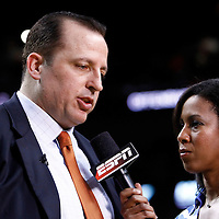 29 January 2012: Chicago Bulls head coach Tom Thibodeau answers to an ESPN journalist during the Miami Heat 97-93 victory over the Chicago Bulls at the AmericanAirlines Arena, Miami, Florida, USA.