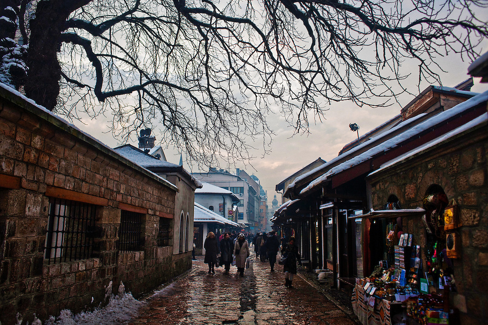 The historic Bascarsija neighborhood of Sarajevo, near the Gazi Husrev Beg Mosque. This neighborhood, destroyed during the early 90's siege of Sarajevo, has been reconstructed and remains a central neighborhood for tourists and locals alike, filled with galleries and coffee shops...