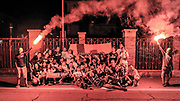 DESCRIZIONE : Campionato 2014/15 Serie A Beko Grissin Bon Reggio Emilia - Dinamo Banco di Sardegna Sassari Finale Playoff Gara7 Scudetto<br /> GIOCATORE : Commando Ultra' Dinamo<br /> CATEGORIA : Ritratto Esultanza Festeggiamenti Postgame Ultras Tifosi Spettatori Pubblico<br /> SQUADRA : Dinamo Banco di Sardegna Sassari<br /> EVENTO : LegaBasket Serie A Beko 2014/2015<br /> GARA : Grissin Bon Reggio Emilia - Dinamo Banco di Sardegna Sassari Finale Playoff Gara7 Scudetto<br /> DATA : 26/06/2015<br /> SPORT : Pallacanestro <br /> AUTORE : Agenzia Ciamillo-Castoria/L.Canu