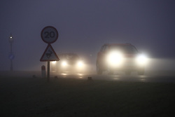 © Licensed to London News Pictures. 05/02/2020. London, UK. Cars drive through a foggy Bushy Park in south west London. Photo credit: Peter Macdiarmid/LNP