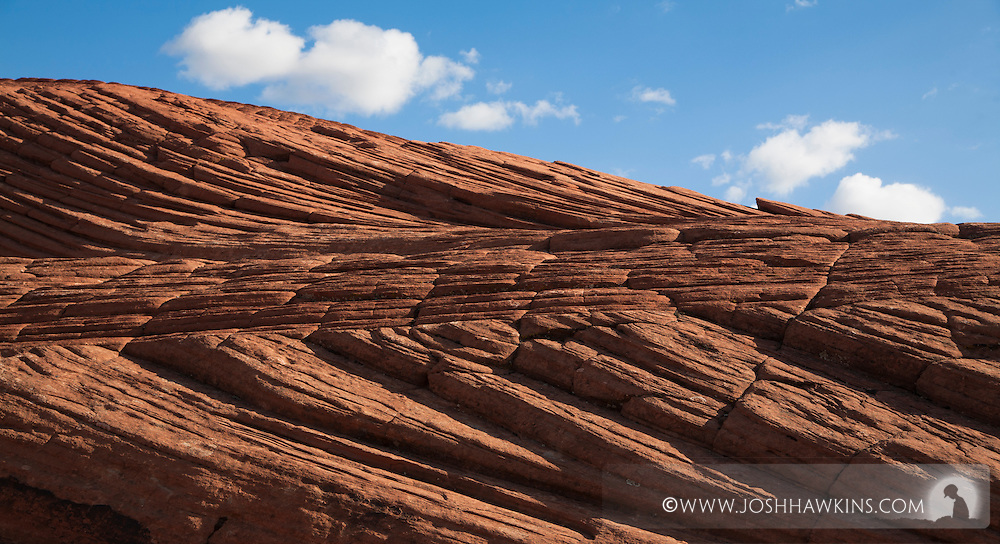 Petrified sand dunes in Snow Canyon State Park outside St. George, Utah.  The sand dunes were originally deposited more than 183 million years ago.