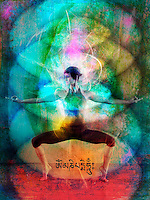 Woman in a colorful flowing energy field. Photo illustration.