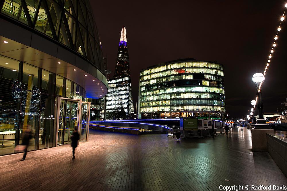 The Shard and city lights of London, England, UK