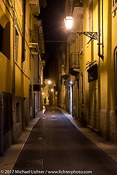 Night-time scene in Verona, a UNESCO World Heritage Site that became a Roman colony in 89 BC and is the setting for 3-Shakespeare plays including Romeo and Juliet during the Motor Bike Expo in Italy. Sunday January 22, 2017. Photography ©2017 Michael Lichter.<br /> <br /> M170101, Motor Bike Expo, Verona, Italy, Night, Cities