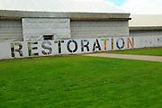 Restoration work sign at Temperate House restoration project, Royal Botanic Gardens, Kew, London, England, UK