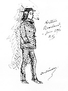 (Jean Nicolas) Arthur Rimbaud (1854-1891), French poet in 1871. After a sketch by Paul Verlaine.