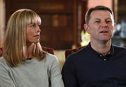 Kate and Gerry McCann, whose daughter Madeleine disappeared from a holiday flat in Portugal ten years ago, during an interview with the BBC's Fiona Bruce at Prestwold Hall in Loughborough.