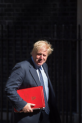 Foreign Secretary Boris Johnson arrives at 10 Downing Street in London for a Cabinet meeting.