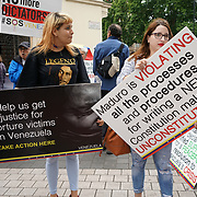 London, England, UK. 30th July 2017. The oposition rise anger against Cuba and Venezuela - On the front line of anti-imperialism as Venezuelan's head to the polls to vote in the Constituent Assembly elections at Embassy of Venezuela.