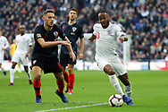 England's Raheem Sterling dribbling into box during the UEFA Nations League match between England and Croatia at Wembley Stadium, London, England on 18 November 2018.