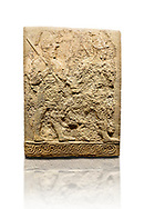 Hittite sculpted orthostats panels of Long Wall Limestone, Karkamıs, (Kargamıs), Carchemish (Karkemish), 900-700 B.C. Soldiers. Anatolian Civilisations Museum, Ankara, Turkey<br /> <br /> Figure of two helmeted warriors. They have their shield in their back and their spear in their hand. The prisoner in their front is depicted as small. The lower part of the orthostat is decorated with braiding motifs. <br /> <br /> On a White Background. .<br />  <br /> If you prefer to buy from our ALAMY STOCK LIBRARY page at https://www.alamy.com/portfolio/paul-williams-funkystock/hittite-art-antiquities.html  - Type  Karkamıs in LOWER SEARCH WITHIN GALLERY box. Refine search by adding background colour, place, museum etc.<br /> <br /> Visit our HITTITE PHOTO COLLECTIONS for more photos to download or buy as wall art prints https://funkystock.photoshelter.com/gallery-collection/The-Hittites-Art-Artefacts-Antiquities-Historic-Sites-Pictures-Images-of/C0000NUBSMhSc3Oo