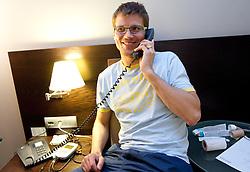 Marcel Rodman of Slovenian National Ice Hockey team in a massage room in the hotel Holiday Inn at IIHF 2011 World Championship Slovakia, on May 4, 2011 in Bratislava, Slovakia. (Photo By Vid Ponikvar / Sportida.com)