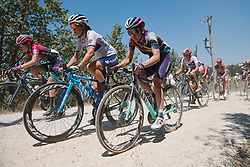 Jelena Eric (SRB) and Alena Amialiusik (BLR) at Strade Bianche - Elite Women 2020, a 136 km road race starting and finishing in Siena, Italy on August 1, 2020. Photo by Sean Robinson/velofocus.com