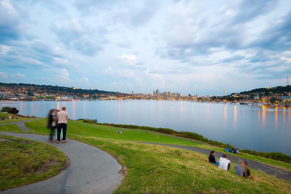 Seattle, Washington State, United States - Lake Union and city skyline from Gas Works Park.