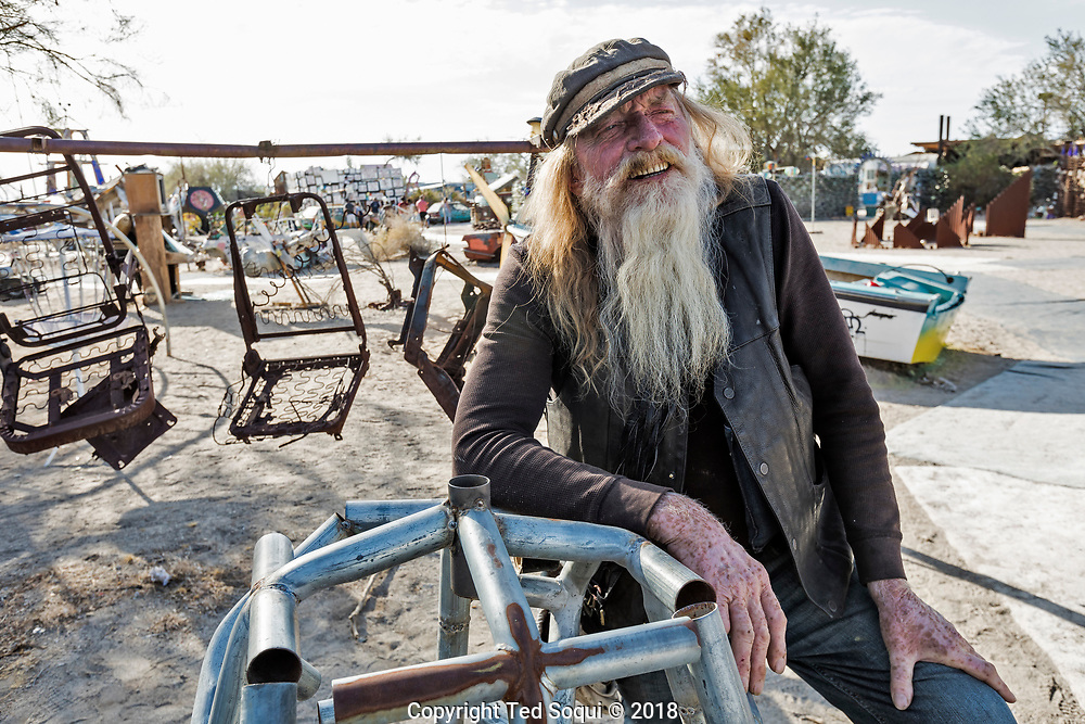 """""""Wizard"""" hanging out in the sculpture garden in East Jesus.<br /> East Jesus, a privately owned artist colony and sculpture garden located inside Slab City.<br /> Slab City and the local environs."""