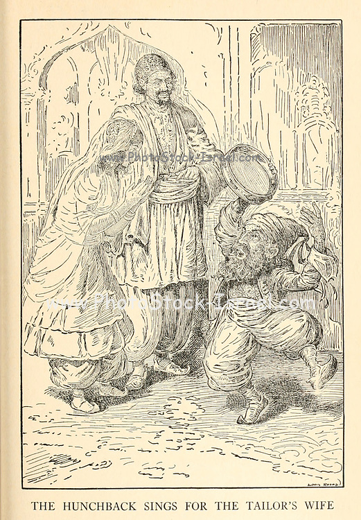 The Hunchback Sings For The Tailor'S Wife from the book '  The Arabian nights' entertainments ' Test and Illustrations by Louis Rhead, Published  in New York by Harper & Brothers in 1916. In order to save her life, Sheherazade entertains the sultan by telling him wondrous stories