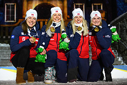 March 16, 2019 - –Stersund, Sweden - 190316 Synnøve Solemdal, Ingrid Landmark Tandrevold, Tiril Eckhoff, Marte Olsbu Røiseland of Norway celebrate during the medal ceremony for the Women's 4x6 km Relay during the IBU World Championships Biathlon on March 16, 2019 in Östersund..Photo: Petter Arvidson / BILDBYRÃ…N / kod PA / 92270 (Credit Image: © Petter Arvidson/Bildbyran via ZUMA Press)