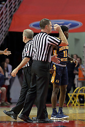09 December 2017:  Gene Grimshaw calls a foul during a College mens basketball game between the Murray State Racers and Illinois State Redbirds in  Redbird Arena, Normal IL