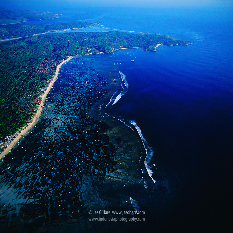 Nusa Lembongan Island, showing seaweed cultivation and tourism area, Bali, Indonesia.