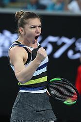 January 19, 2019 - Melbourne, Australia - SIMONA HALEP of Romania celebrates during the Women's Singles 3rd round win over V. Williams during the Australian Open. (Credit Image: © Bai Xuefei/Xinhua via ZUMA Wire)