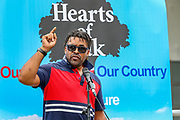 A black British speaker supports speaks to a crowd of people who gathered to participate in a protest called by the far-right group Hearts of Oak in Parliament Square in London, on Saturday, August 1, 2020. The group demanded the deportation of Muslims and other individuals who may have committed crimes in the country regardless of their status. The group praised US President Donald Trump and his policies to foreigners. (VXP Photo/ Vudi Xhymshiti)