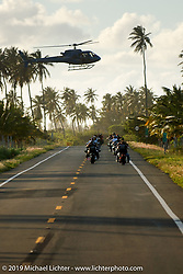Arlen Ness and Roland Sands get filmed from a helicopter as they lead a pack of bikes through Puerto Rico for the filming of a Discovery Channel Biker Build-Off. Photography ©2004 Michael Lichter.
