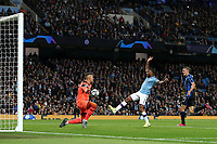 Football - 2019 / 2020 UEFA Champions League - Group C: Manchester City vs. Atalanta<br /> <br /> Raheem Sterling of Manchester City scores his sides fifth goal top make the score 5-1, at the Etihad Stadium.<br /> <br /> COLORSPORT/PAUL GREENWOOD