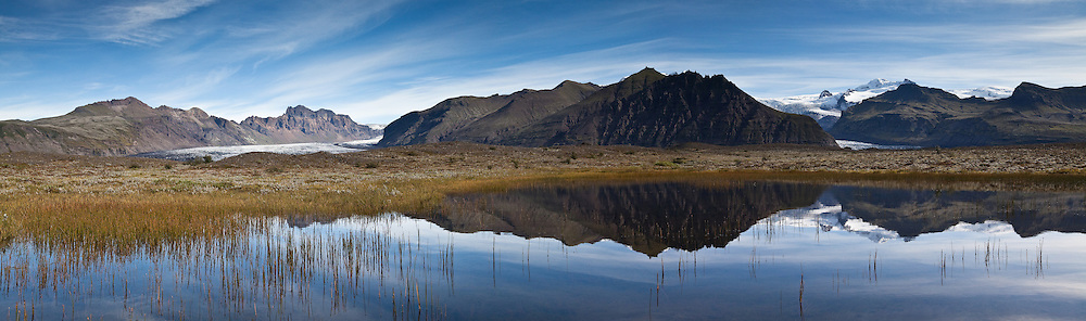 Panorama view of Skaftafell National Park, south Iceland