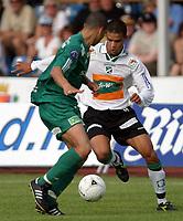 Fotball , 21 August  2005 , NM kvartfinale  , Hønefoss Idrettspark , Hønefoss BK  v  Ham - Kam , (4-0)<br /> <br /> Axel Smeets , Ham - Kam og Kamal Saaliti , Hønefoss.