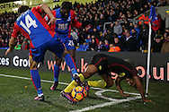 Raheem Sterling of Manchester City is intercepted by Lee Chung-Yong of Crystal Palace and Bakary Sako of Crystal Palace. Premier League match, Crystal Palace v Manchester city at Selhurst Park in London on Saturday 19th November 2016. pic by John Patrick Fletcher, Andrew Orchard sports photography.